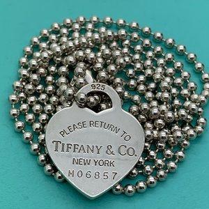 """Tiffany & Co.925 Heart Necklace 33"""" Long"""